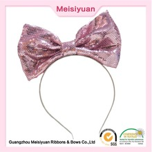 Customized Pink Large glitter hair bows headband for party