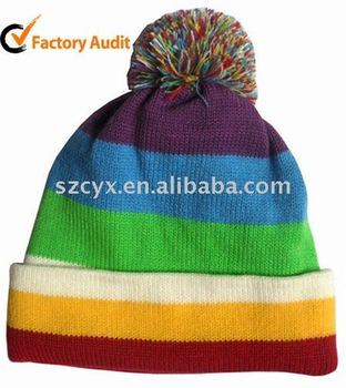 Rainbow design knitted Beanie hat with pompom