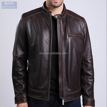 High Quality Classic button men motorcycle jackets zip up brown long sleeve Warm Coat Wear PU leather motorcycle jacket