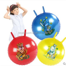 ecofriendly PVC toy jumping ball with handle 45cm bouncy hopping ball