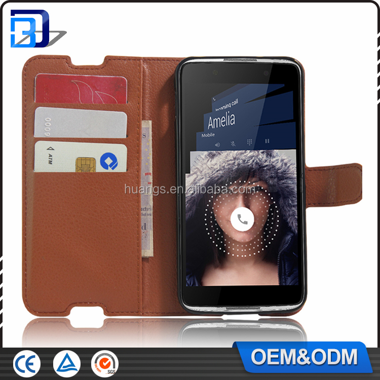 High Quality Litchi Design Credit Card Wallet Stand Flip leather case for Alcatel One Touch Idol 4 mobile phone cover
