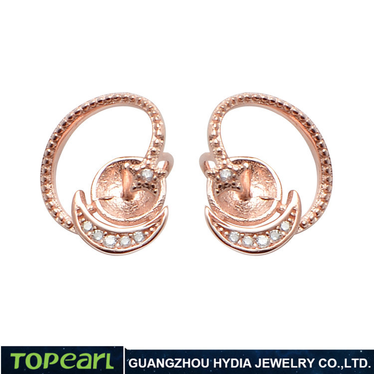Topearl Jewelry 9EM27 Cubic Zirconia Rose Gold 925 Sterling Silver Star & Moon Earring Findings