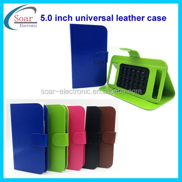 China wholesale flip universal leather case with sucker for 5.0 inch cell phone