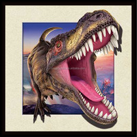 Decoration craft modern shocking dinosaur head 3D lenticular picture poster by lenticular printing