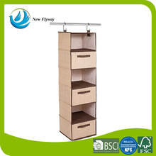 Polyester Fabric Wall Door Clothing Sweaters Accessories Storage Closet Hanging Organizer With Drawers 6 Shelf 3 Drawers Brown