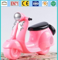 motorcycle PVC money box, motorcycle new design plastic coin bank, personalized abs coin bank