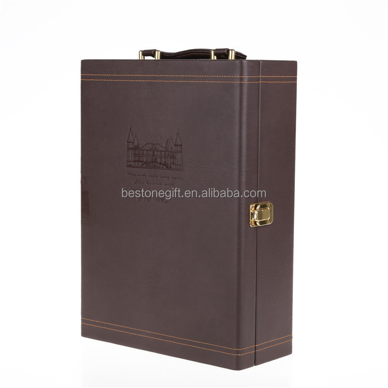 Luxury 2 Vintage Leather Red Wine Bottle Box/wine Case