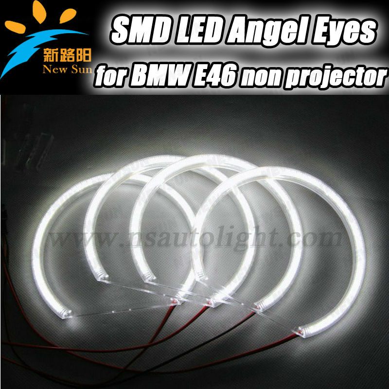 2014 New Style Car Angel Eyes Rings 131MM +146MM 3014 SMD for BMW E46 Non Projector led halo rings angel eyes lighting