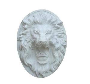 MGL073 White Marble Water View Lion Head Animal Sculpture