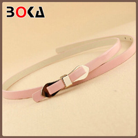 Top selling new fashion thin pu belt with the bowknot for women's dress
