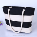 Wholesale customized Leisure colorful canvas rope handle beach bag Outdoor strip ladies beach tote bag
