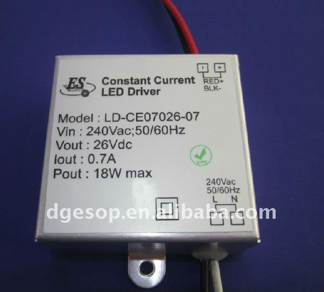 18W 700mA for Europe LEDs LED Driver with Aluminium Housing