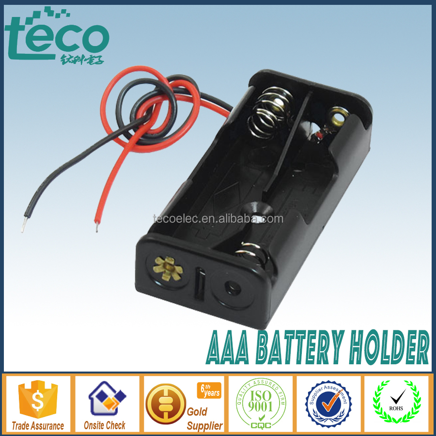 TBH-3A-2C-W Ningbo TECO 3V AAA Battery Holder with 150mm Lead Wire