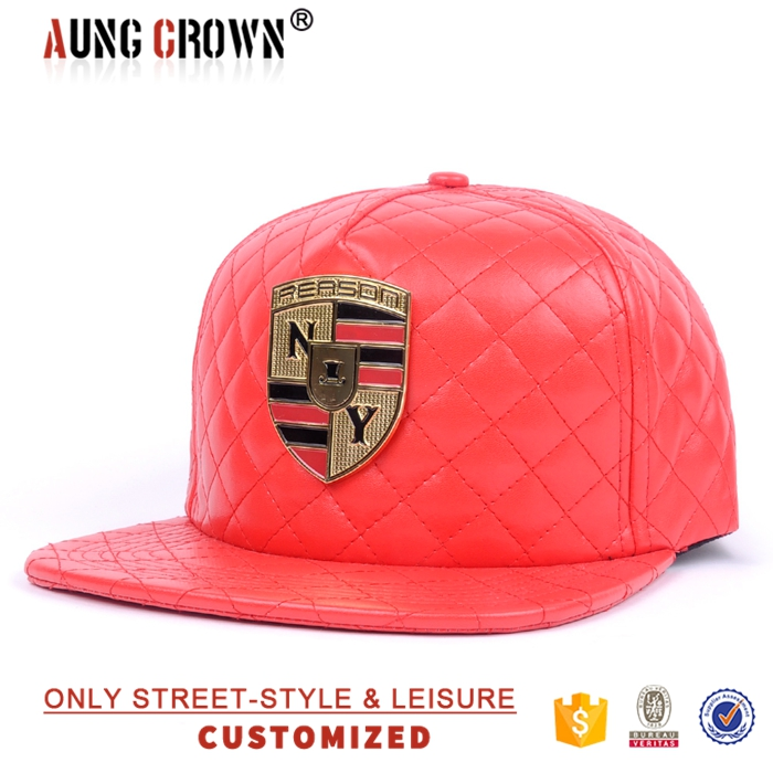 Red snapback hat custom logo 5 panel flat brim metal patch hat