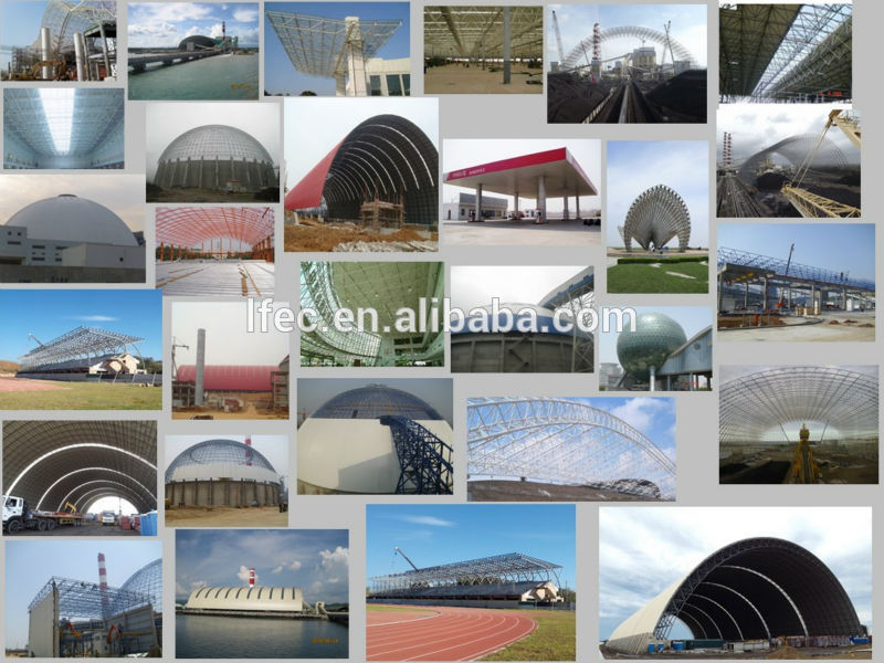 Light gray space frame dome coal mine coal storage yard