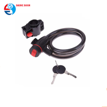 Universal Anti-Theft Stainless Steel Cable Coil with 2pcs Key for electric bicycle lock