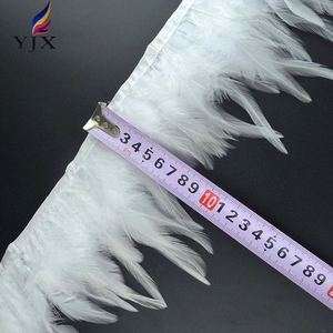 Free shipping 10-15cm white cock hackle saddle feather trim fringe