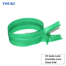 #3 invisible auto lock zipper lace close end zipper
