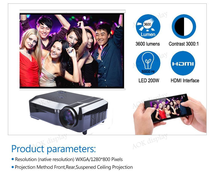 LED Smart Cinema Theater Projector HDMI/ATV/USB/AV 1280*800 HD LED Projector with WIFI