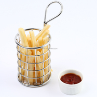 Kitchen Stainless Steel French Fry Basket mini deep fry serving basket Great For Serving Fried Chip F0057