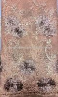 CL3071-46 Embossing organza lace handcut with sequins and embroidered Golden thread