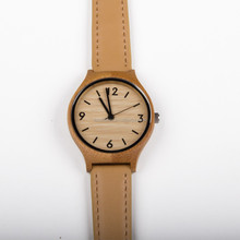 Women Wood Watch <strong>Bamboo</strong> + Genuine Leather Strap Watch Lady Watch