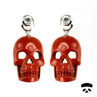 Professional Wholesale gems Red Jasper hand carved Skull Earrings