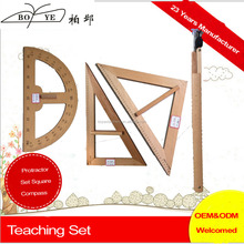 Big Wooden drawing Protractor Set Square Ruler Compass Set For Teacher or office