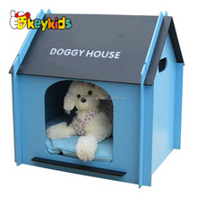 Wholesale high quality blue pet bed wooden doggy house for home use W06F002B