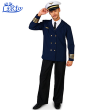 Fashion flight navy captain costume suit uniform with hats trousers