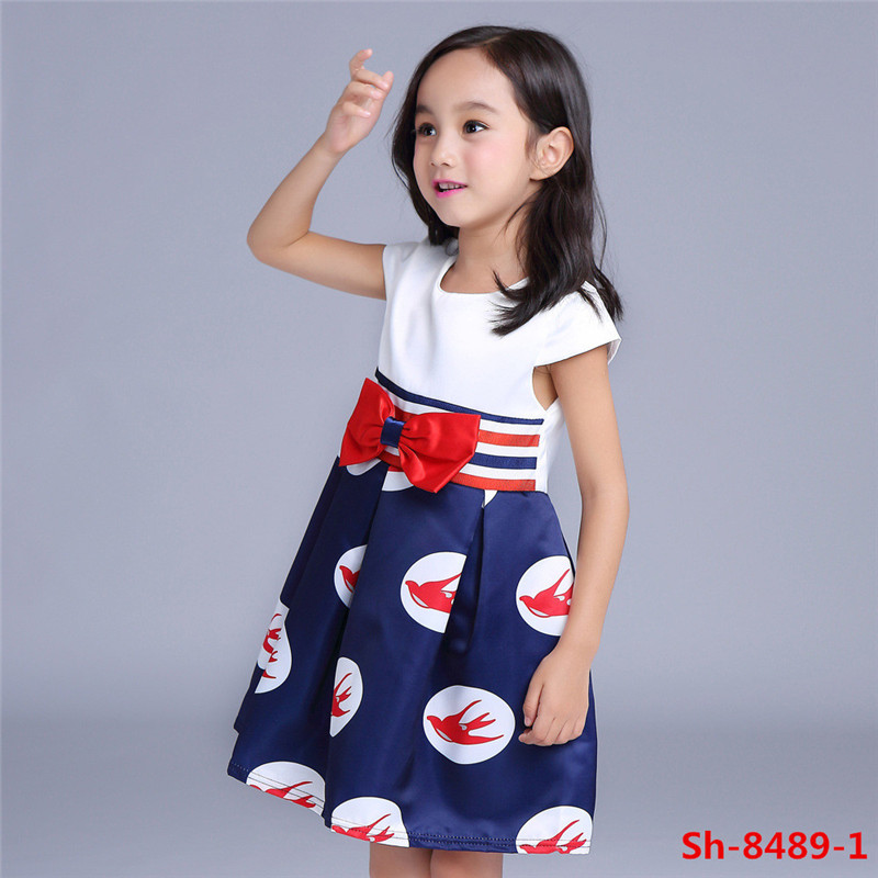 2016 Latest model kids dress photo for small girls fancy frocks lovely bird printing clothing