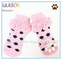 S4 fashion dot knitting pet shoe socks for dogs cats