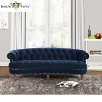 European style elegant velvet fabric upholstery high back three seat chesterfield sofa design