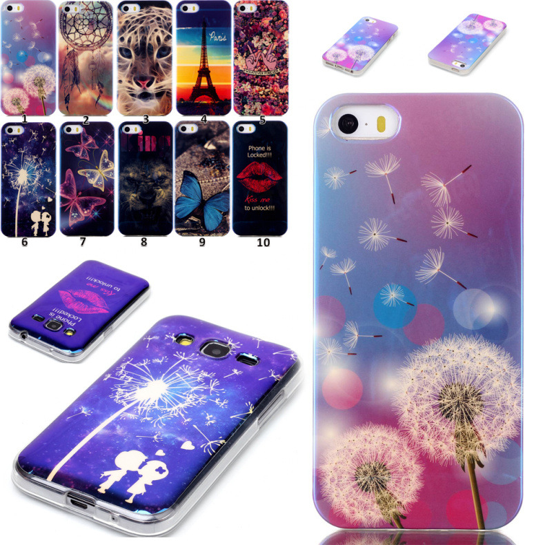 Universal Laser Blue light Case For iPhone 6 6s 6s plus for Iphone5c for samsung galaxyS3 S4 TPU back Cover Case