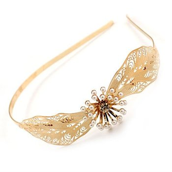 latest fashion gold plating hair accessory jewelry flower metal headband