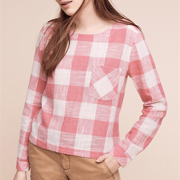Gingham button-back top cotton linen rayon front pocket long sleeves lady blouse & top
