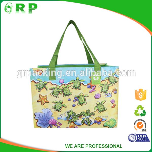 ISO/BSCI Special design lovely cartoon sea turtle pp woven shopping bag with reinforce handle