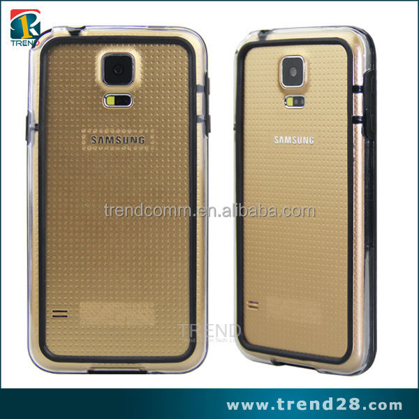hot new products for 2014 double color transparent bumper case for samsung galaxy s5
