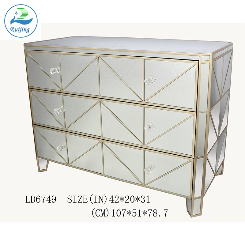 Contemporary Chest Drawer Tall Boy Mirrored Cabinet