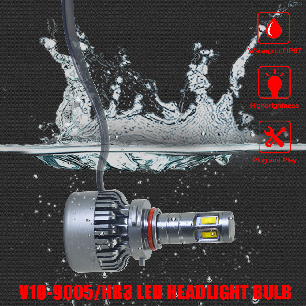 CSP Car LED Headlight Fog Light Mute Fan 9004 8000LM 70W 12V Hi-Lo Beam Main Light Universal Headlamp Led Light V10