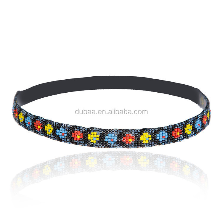 Stretch Headband Bohemian Ethnic Embroidery Elastic Native American Headband