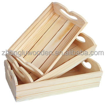 Solid wooden food and vegetable crate tray