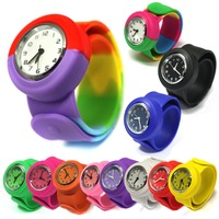 fashion Stylish silicone jelly kids slap rubber band fifferent color watch