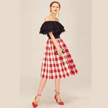 Latest design ladies red plaid flared skirt Vintage women midi loose skirts