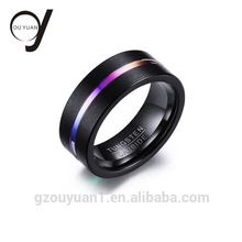 High Quality Cheap Wedding Couples Ring Rainbow Black Color Gay Men Tungsten Ring