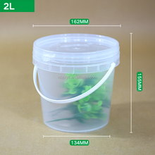 Clear with lid unbreakable plastic bucket 2 liter