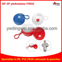 Disposable poncho plastic ball with a snap hook attachment available in white