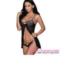 Hot Black Sexy Ruffled Detail Fly-away Babydoll Lingerie Panty Lingerie