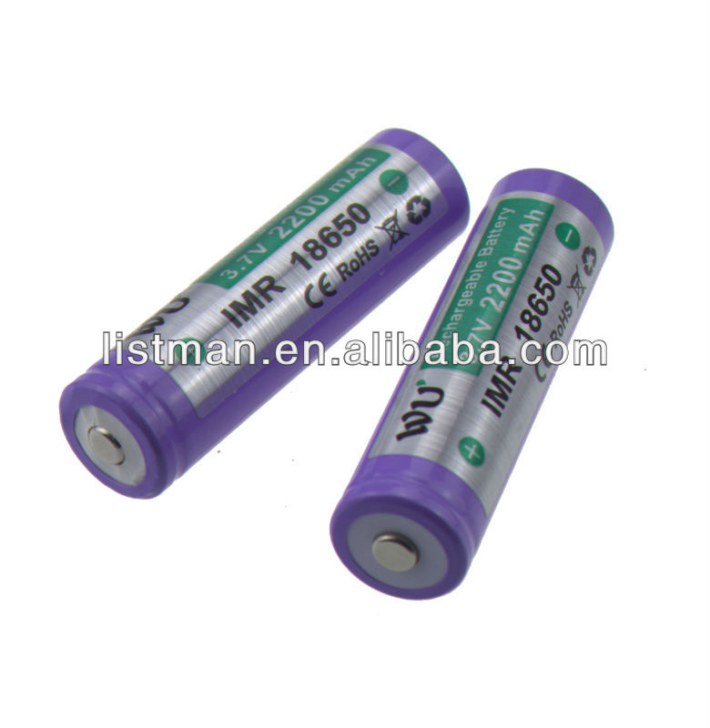WU IMR 18650 2200mah 3.7V rechargeble battery with button top for E-cig mods