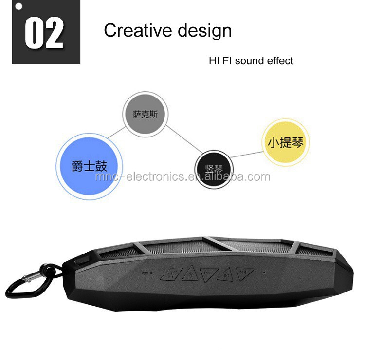 2016 creative geometry shape design hi fi sound effect portable mini bluetooth speaker with carabiner, usb and TF card slot